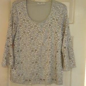 Cato Womens Floral grey tunic L